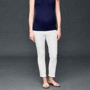 Gap Raw Hem Skinny Ankle Maternity White Jeans 12